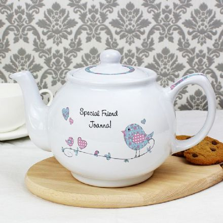 Floral Bird Teapot (personalised)